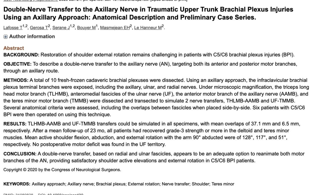 Publication sur les doubles transferts nerveux de réanimation du deltoïde au cours de paralysies du plexus brachial