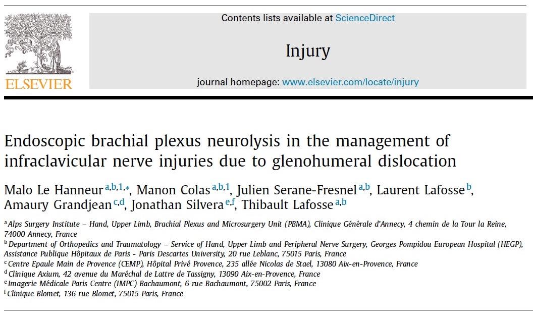prise en charge des paralysies nerveuses périphériques après luxation gléno-humérales par neurolyse endoscopique.
