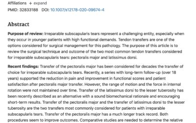 Article de revue, et synthèse sur les rupture irréparable de sous scapulaire: transferts tendineux.